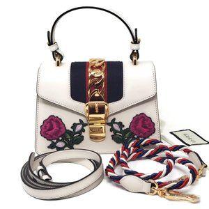 100% Auth Gucci Sylvie Mini White CrossbodyBag New